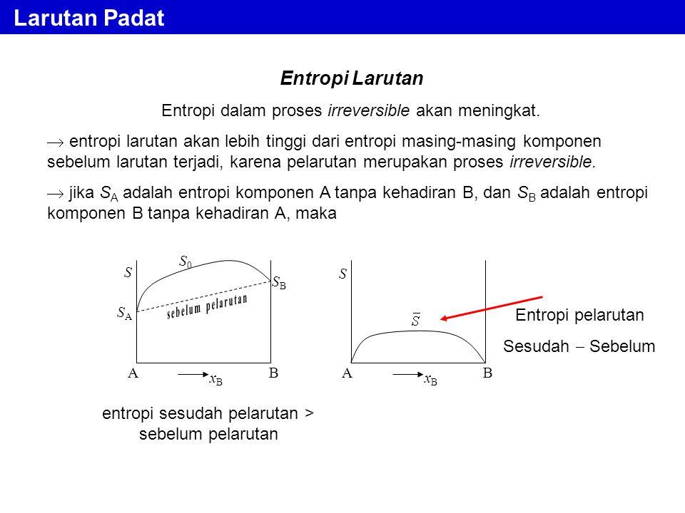 Larutan Padat Entropi Larutan Entropi dalam proses irreversible akan meningkat.  entropi larutan akan lebih tinggi dari entropi masing-masing kompone