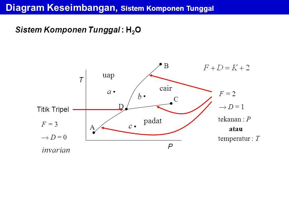 T P A D C B cair padat uap a b c F = 2  D = 1 tekanan : P atau temperatur : T Diagram Keseimbangan, Sistem Komponen Tunggal Titik Tripel Sistem Kompo