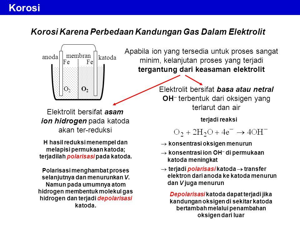 Korosi Karena Perbedaan Kandungan Gas Dalam Elektrolit Apabila ion yang tersedia untuk proses sangat minim, kelanjutan proses yang terjadi tergantung