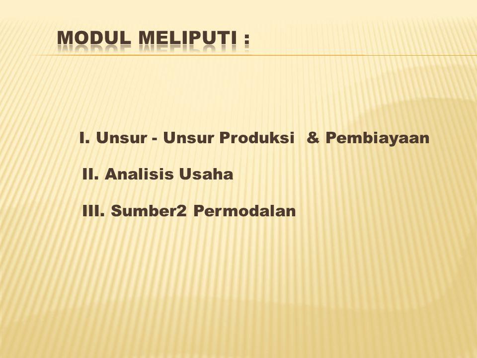 I. Unsur - Unsur Produksi & Pembiayaan II. Analisis Usaha III. Sumber2 Permodalan
