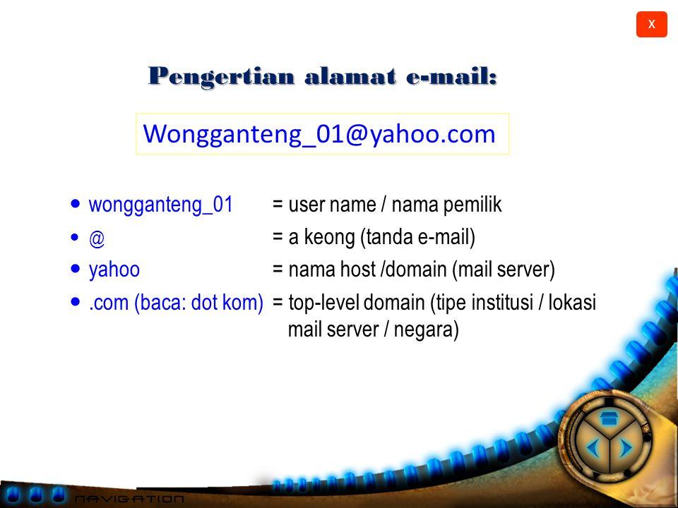 X Anatomi e-mail Header: ◦ To (kepada): alamat e-mail tujuan ◦ Cc (Carbon Copy): alamat e-mail tujuan ◦ Subject (judul): topik surat.