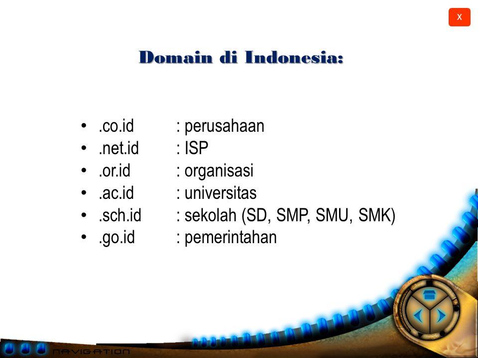 X Domain.com,.net,.org,.edu,.gov,.co.id,.net.id,.ac.id,.or.id,.sch.id dll.