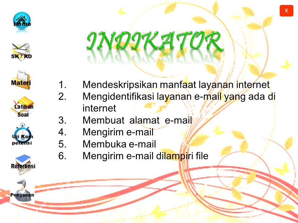 X Kompetensi Dasar 2.2. Mengidentifikasi beberapa layanan informasi yang ada di internet X