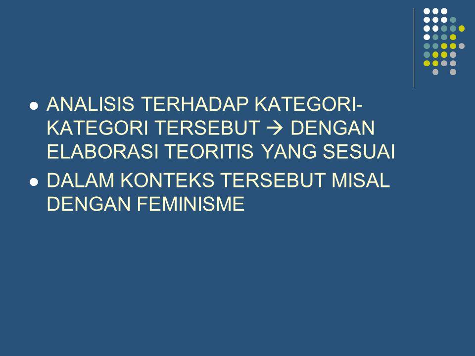 ANALISIS TERHADAP KATEGORI- KATEGORI TERSEBUT  DENGAN ELABORASI TEORITIS YANG SESUAI DALAM KONTEKS TERSEBUT MISAL DENGAN FEMINISME