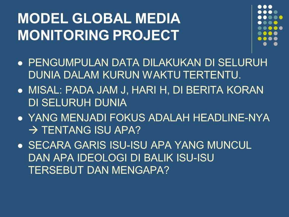 MODEL GLOBAL MEDIA MONITORING PROJECT PENGUMPULAN DATA DILAKUKAN DI SELURUH DUNIA DALAM KURUN WAKTU TERTENTU. MISAL: PADA JAM J, HARI H, DI BERITA KOR