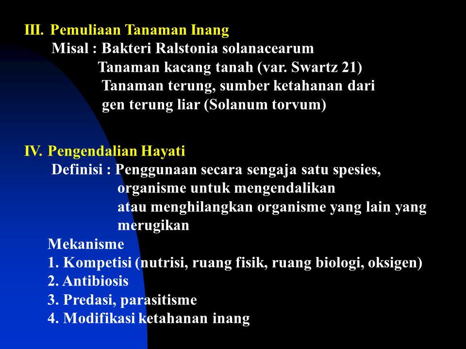 III. Pemuliaan Tanaman Inang Misal : Bakteri Ralstonia solanacearum Tanaman kacang tanah (var. Swartz 21) Tanaman terung, sumber ketahanan dari gen te