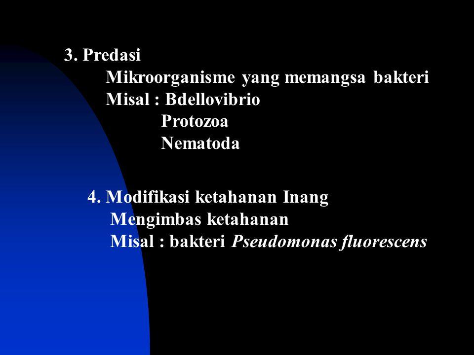 3. Predasi Mikroorganisme yang memangsa bakteri Misal : Bdellovibrio Protozoa Nematoda 4. Modifikasi ketahanan Inang Mengimbas ketahanan Misal : bakte