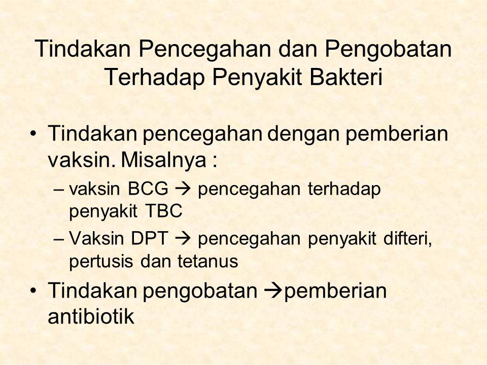 Tindakan Pencegahan dan Pengobatan Terhadap Penyakit Bakteri Tindakan pencegahan dengan pemberian vaksin. Misalnya : –vaksin BCG  pencegahan terhadap