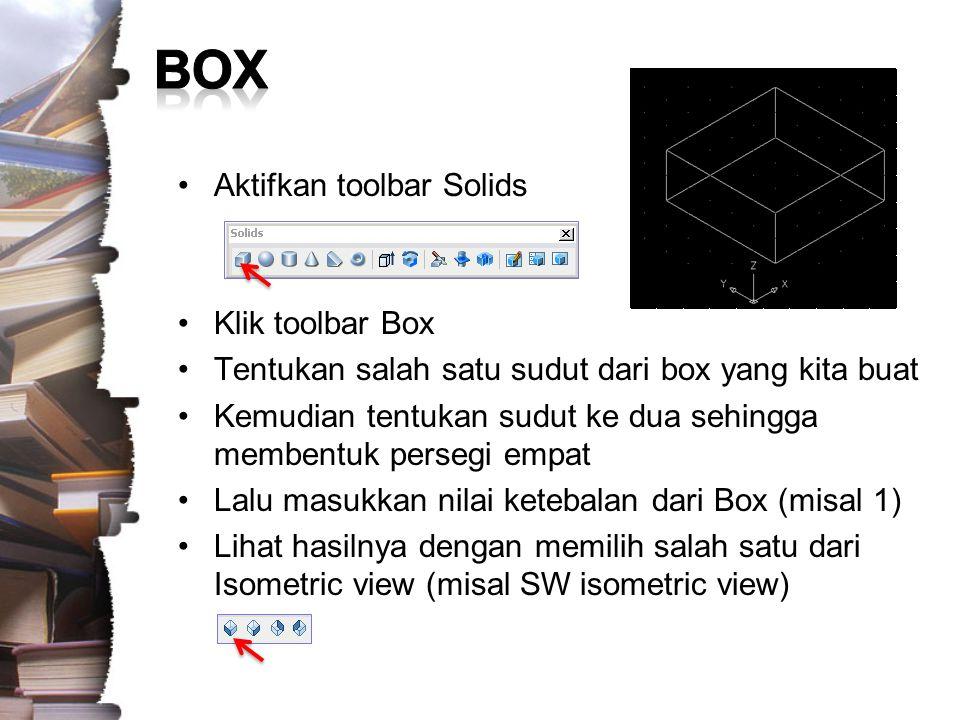 Untuk membuat Objek Balok persegi panjang, kita harus menentukan ukuran untuk Panjang Lebar dan Tinggi Ikuti step berikut ini dan amati hasilnya : –Command: Box –Specify corner of box or [CEnter] : CE –Specify center of box : [klik di sebuah titik] –Specify corner or [Cube/Length]: L –Specify length: 2 –Specify width: 1 –Specify height: 3