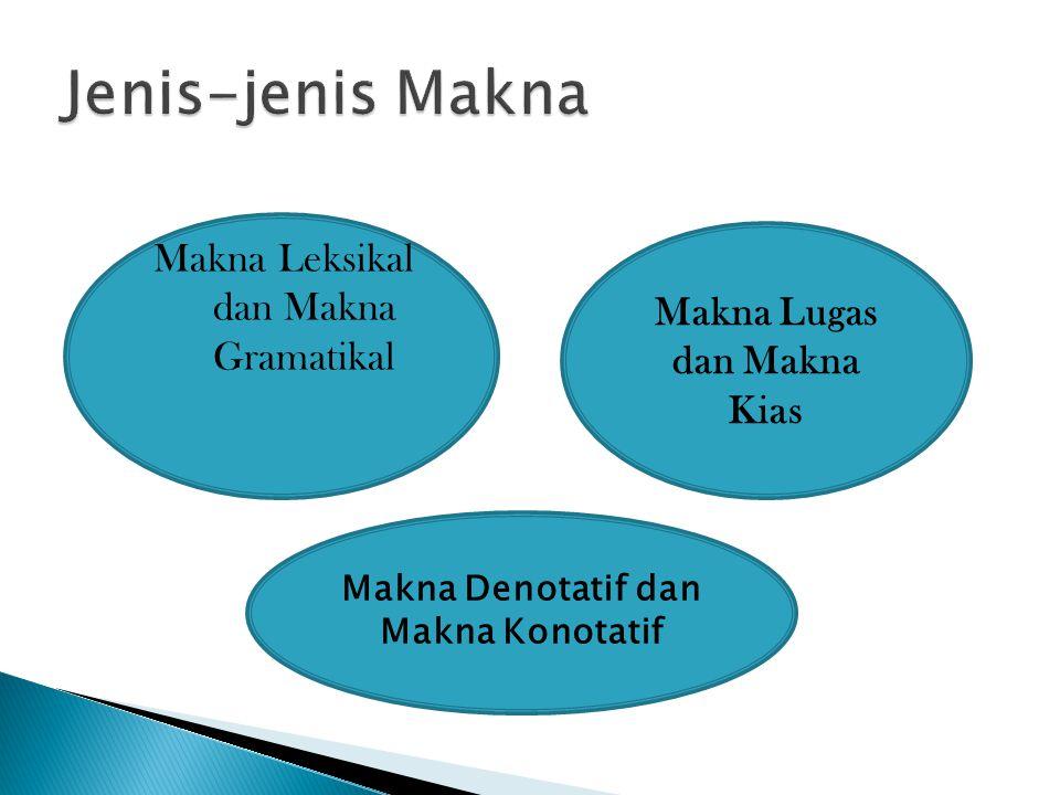 Makna Leksikal dan Makna Gramatikal Makna Lugas dan Makna Kias Makna Denotatif dan Makna Konotatif