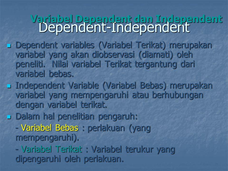 Dependent-Independent Dependent variables (Variabel Terikat) merupakan variabel yang akan diobservasi (diamati) oleh peneliti. Nilai variabel Terikat