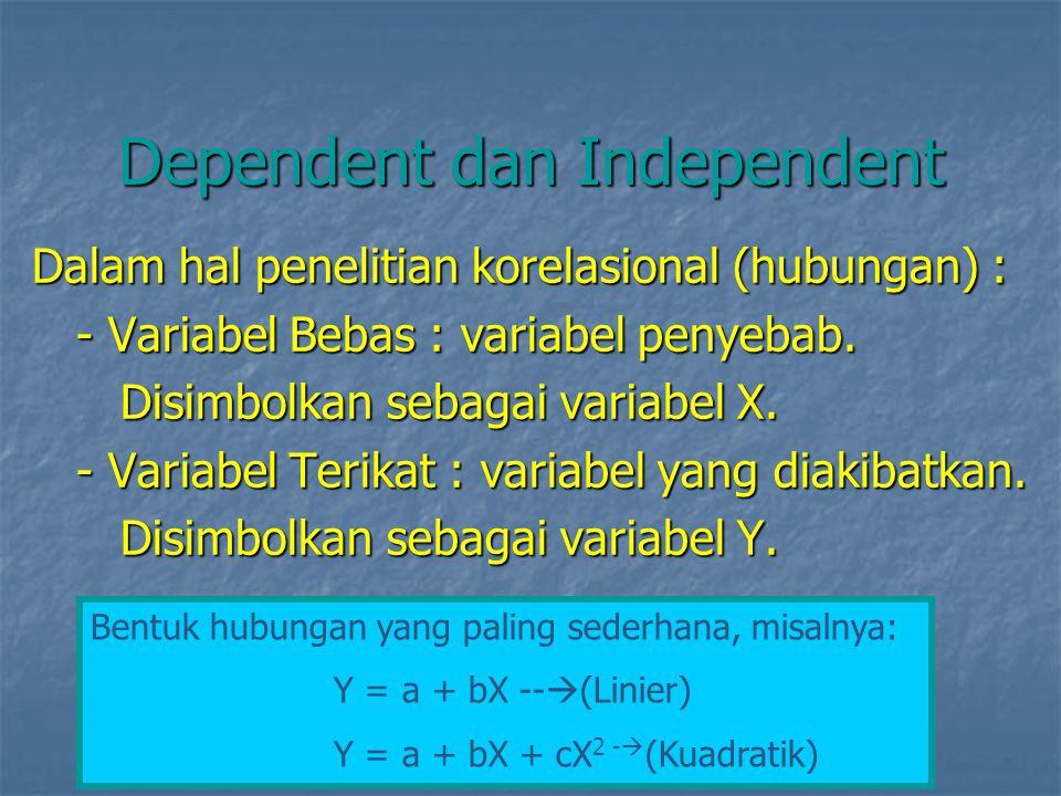 Dependent dan Independent Dalam hal penelitian korelasional (hubungan) : - Variabel Bebas : variabel penyebab. - Variabel Bebas : variabel penyebab. D