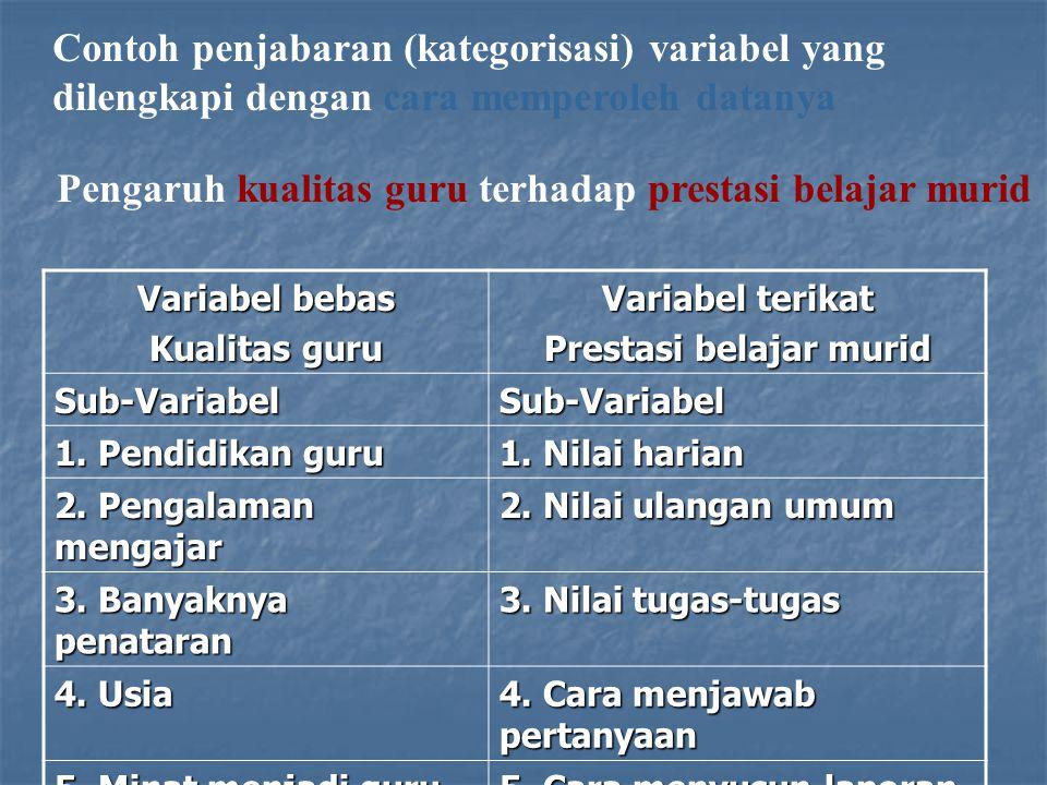 Contoh penjabaran (kategorisasi) variabel yang dilengkapi dengan cara memperoleh datanya Pengaruh kualitas guru terhadap prestasi belajar murid Variab