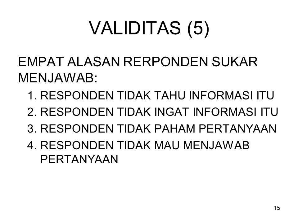 15 VALIDITAS (5) EMPAT ALASAN RERPONDEN SUKAR MENJAWAB: 1.RESPONDEN TIDAK TAHU INFORMASI ITU 2.RESPONDEN TIDAK INGAT INFORMASI ITU 3.RESPONDEN TIDAK PAHAM PERTANYAAN 4.RESPONDEN TIDAK MAU MENJAWAB PERTANYAAN