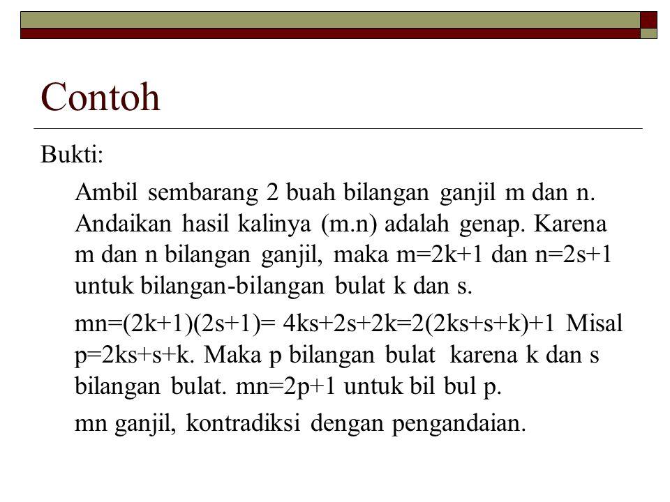 Contoh Bukti: Ambil sembarang 2 buah bilangan ganjil m dan n. Andaikan hasil kalinya (m.n) adalah genap. Karena m dan n bilangan ganjil, maka m=2k+1 d