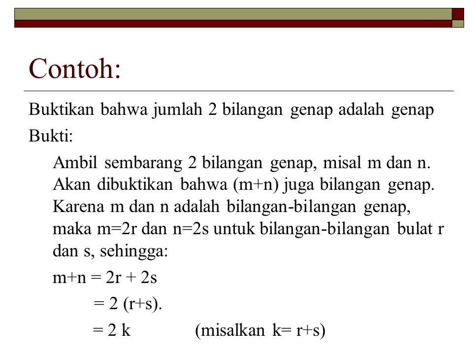 Contoh: Buktikan bahwa jumlah 2 bilangan genap adalah genap Bukti: Ambil sembarang 2 bilangan genap, misal m dan n. Akan dibuktikan bahwa (m+n) juga b