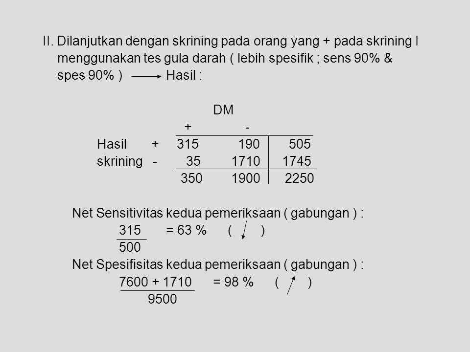 II. Dilanjutkan dengan skrining pada orang yang + pada skrining I menggunakan tes gula darah ( lebih spesifik ; sens 90% & spes 90% ) Hasil : DM + - H