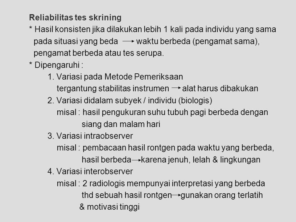 Reliabilitas tes skrining * Hasil konsisten jika dilakukan lebih 1 kali pada individu yang sama pada situasi yang bedawaktu berbeda (pengamat sama), p