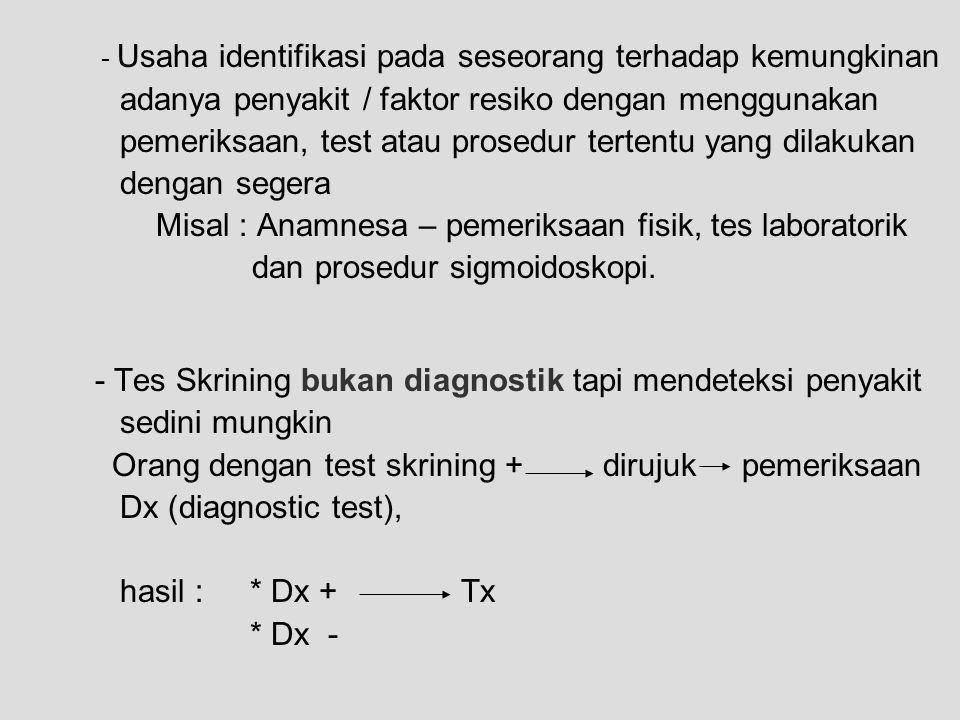 - Usaha identifikasi pada seseorang terhadap kemungkinan adanya penyakit / faktor resiko dengan menggunakan pemeriksaan, test atau prosedur tertentu y
