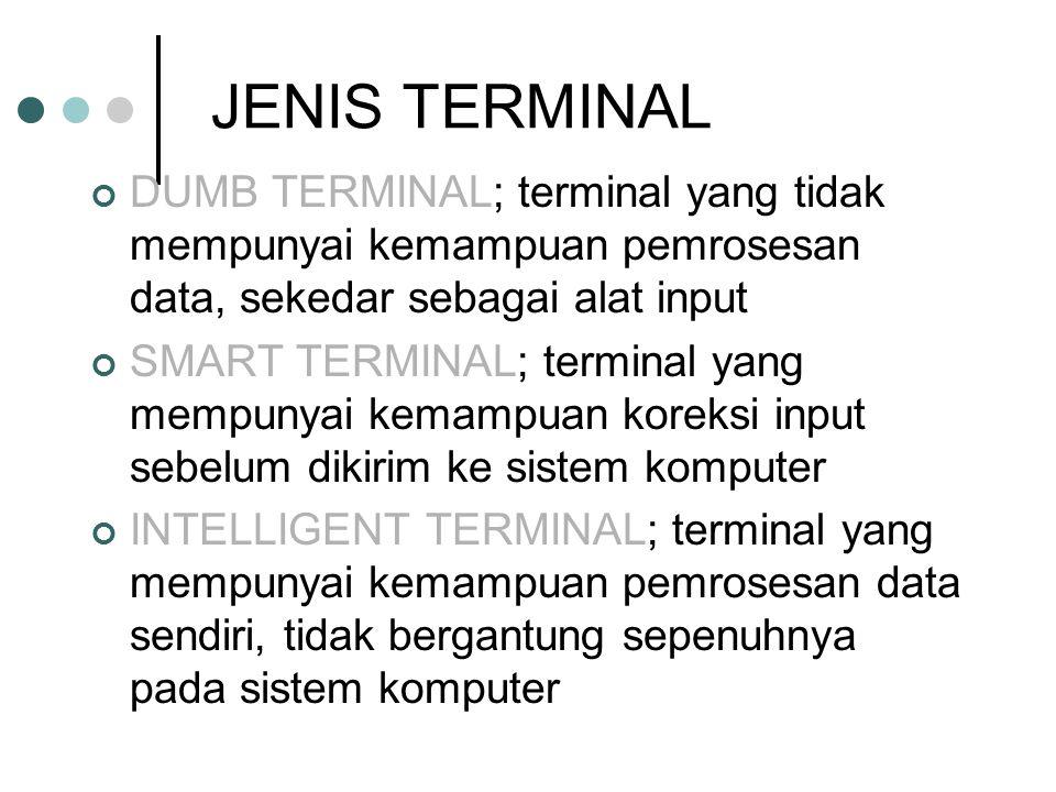 JENIS TERMINAL DUMB TERMINAL; terminal yang tidak mempunyai kemampuan pemrosesan data, sekedar sebagai alat input SMART TERMINAL; terminal yang mempun