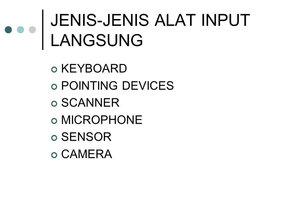 JENIS-JENIS ALAT INPUT LANGSUNG KEYBOARD POINTING DEVICES SCANNER MICROPHONE SENSOR CAMERA