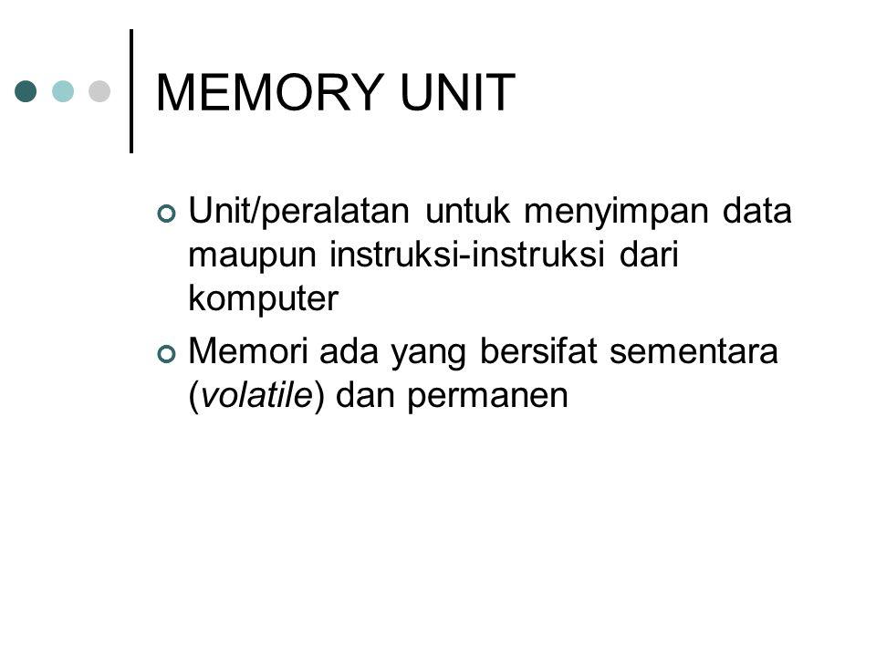 MEMORY UNIT Unit/peralatan untuk menyimpan data maupun instruksi-instruksi dari komputer Memori ada yang bersifat sementara (volatile) dan permanen