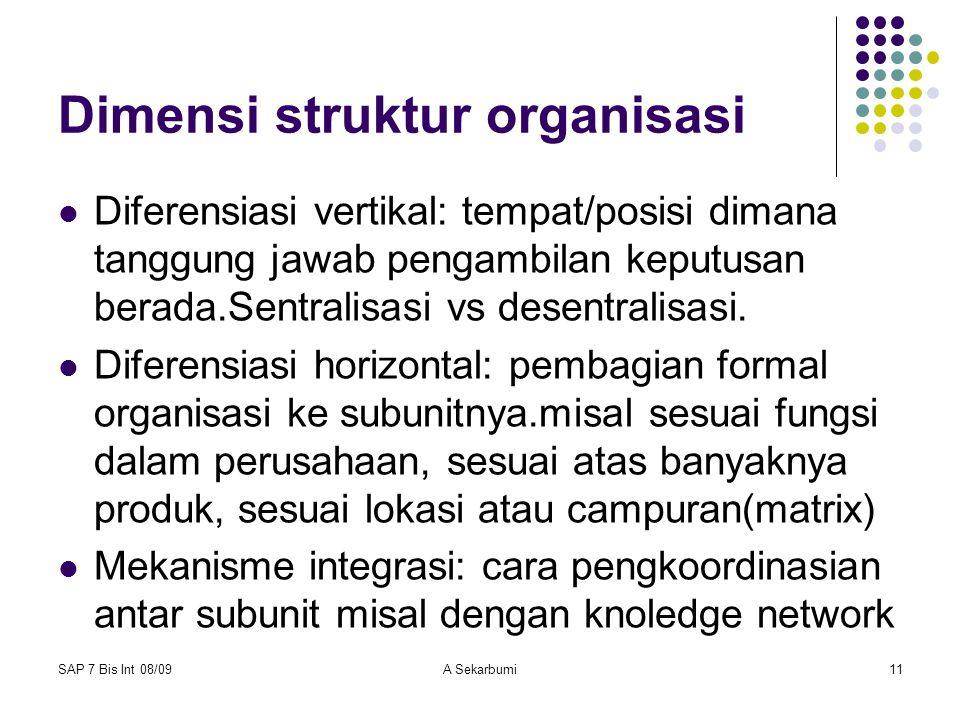 SAP 7 Bis Int 08/09A Sekarbumi11 Dimensi struktur organisasi Diferensiasi vertikal: tempat/posisi dimana tanggung jawab pengambilan keputusan berada.S