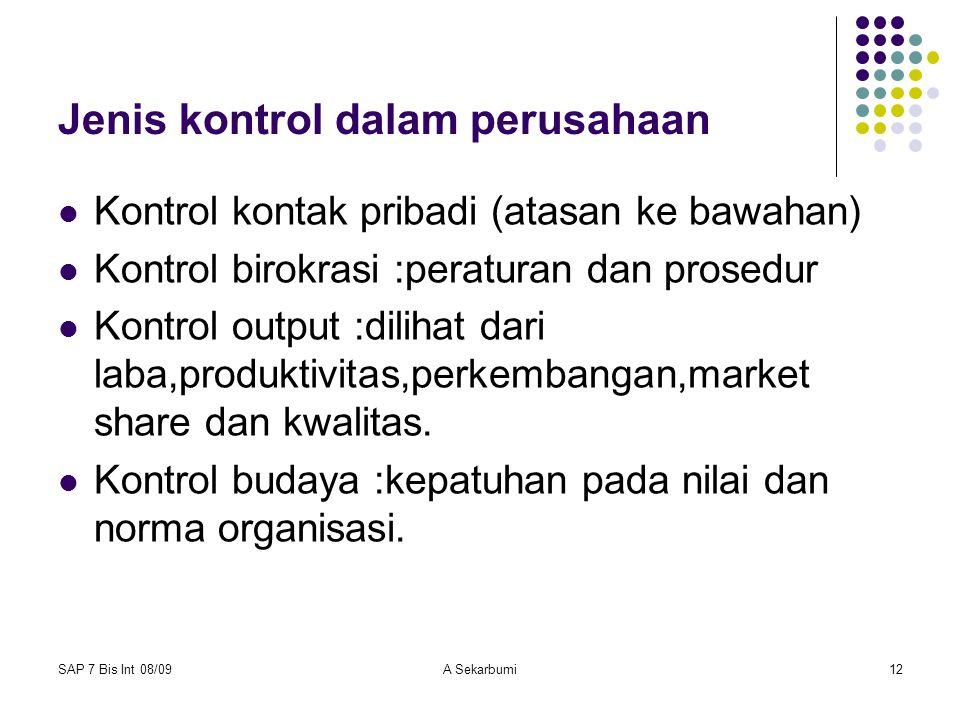 SAP 7 Bis Int 08/09A Sekarbumi12 Jenis kontrol dalam perusahaan Kontrol kontak pribadi (atasan ke bawahan) Kontrol birokrasi :peraturan dan prosedur K