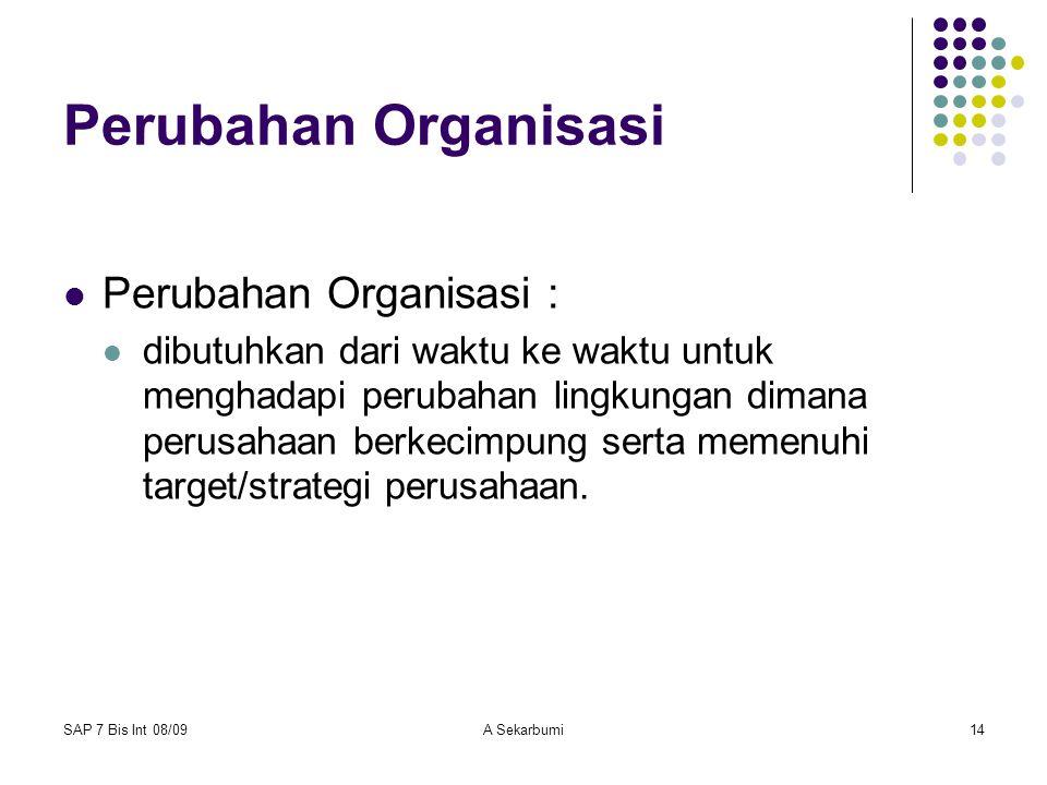 SAP 7 Bis Int 08/09A Sekarbumi14 Perubahan Organisasi Perubahan Organisasi : dibutuhkan dari waktu ke waktu untuk menghadapi perubahan lingkungan dima