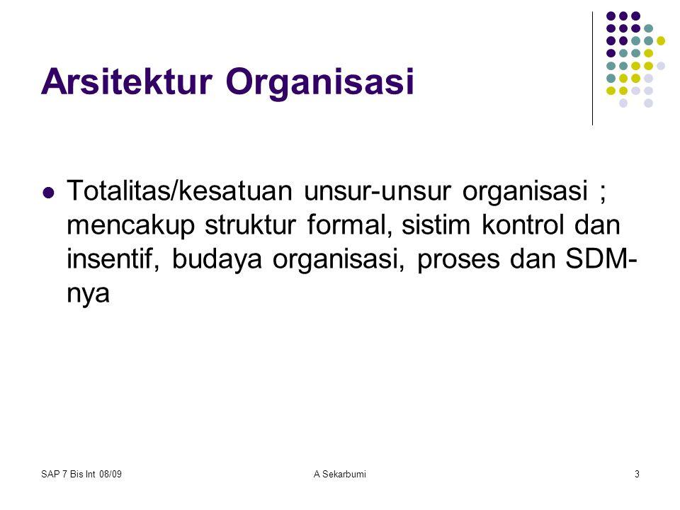 SAP 7 Bis Int 08/09A Sekarbumi3 Arsitektur Organisasi Totalitas/kesatuan unsur-unsur organisasi ; mencakup struktur formal, sistim kontrol dan insenti