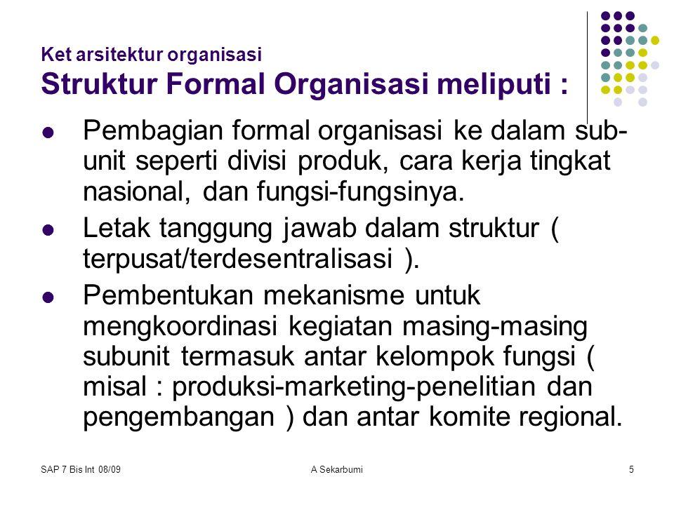 SAP 7 Bis Int 08/09A Sekarbumi5 Ket arsitektur organisasi Struktur Formal Organisasi meliputi : Pembagian formal organisasi ke dalam sub- unit seperti