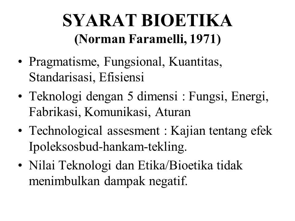SYARAT BIOETIKA (Norman Faramelli, 1971) Pragmatisme, Fungsional, Kuantitas, Standarisasi, Efisiensi Teknologi dengan 5 dimensi : Fungsi, Energi, Fabr