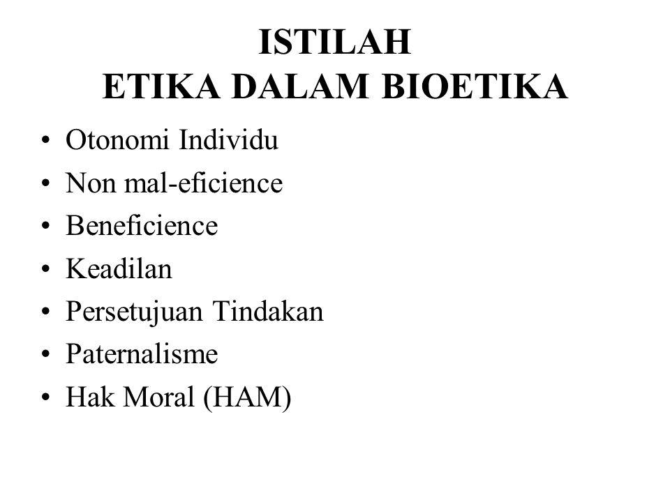 ISTILAH ETIKA DALAM BIOETIKA Otonomi Individu Non mal-eficience Beneficience Keadilan Persetujuan Tindakan Paternalisme Hak Moral (HAM)