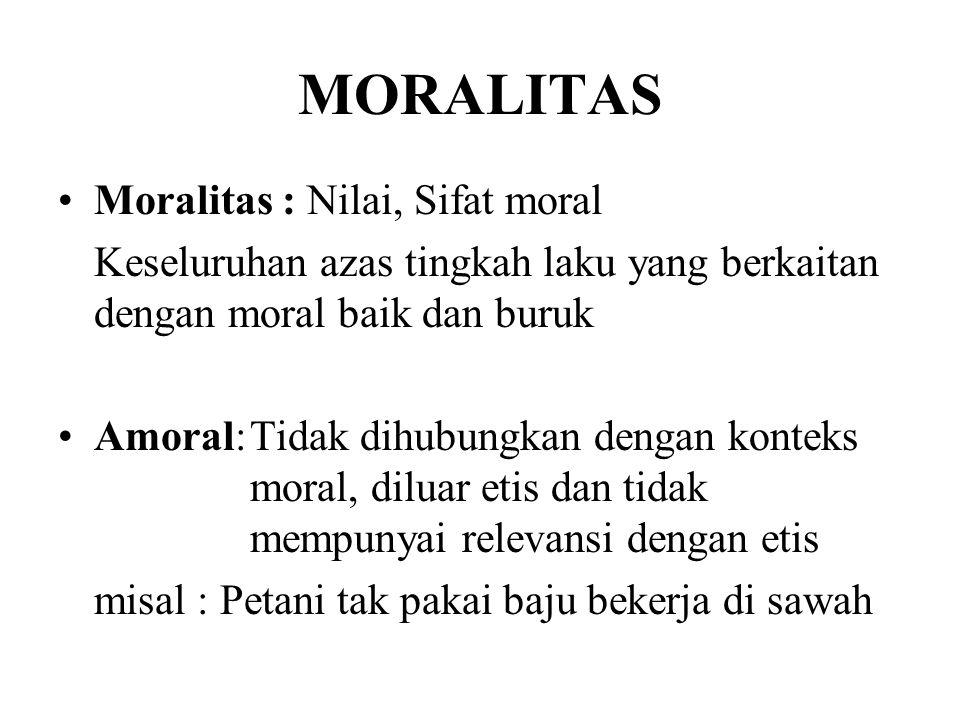 MORALITAS Moralitas : Nilai, Sifat moral Keseluruhan azas tingkah laku yang berkaitan dengan moral baik dan buruk Amoral:Tidak dihubungkan dengan kont