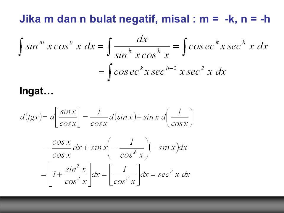 Jika m dan n bulat negatif, misal : m = -k, n = -h Ingat…
