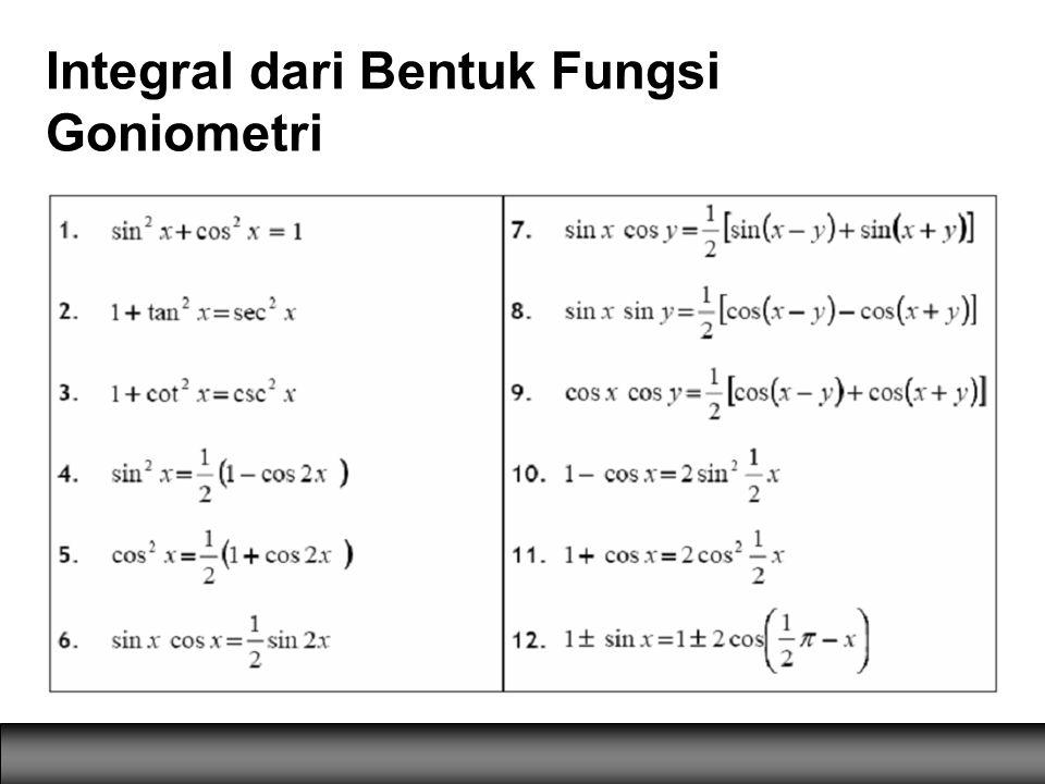 Integral dari Bentuk Fungsi Goniometri