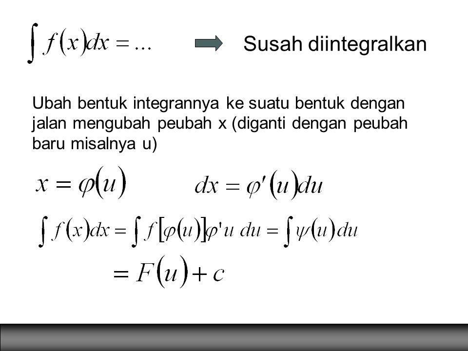 Susah diintegralkan Ubah bentuk integrannya ke suatu bentuk dengan jalan mengubah peubah x (diganti dengan peubah baru misalnya u)