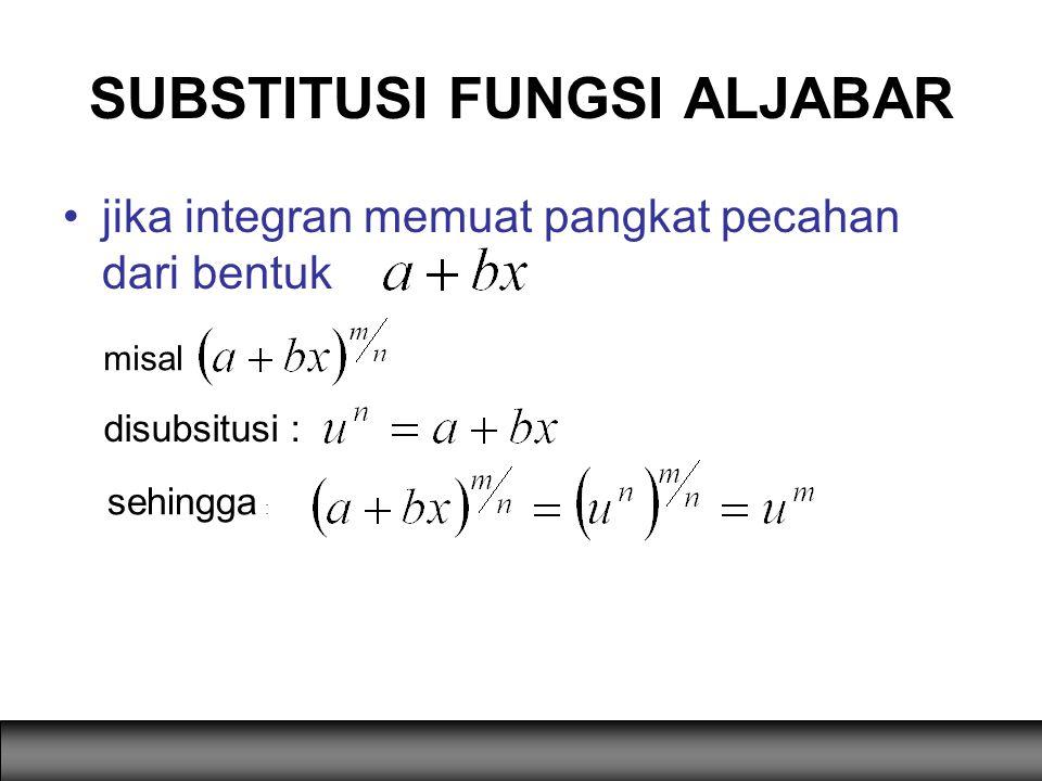 jika integran memuat pangkat pecahan dari bentuk SUBSTITUSI FUNGSI ALJABAR sehingga : misal disubsitusi :