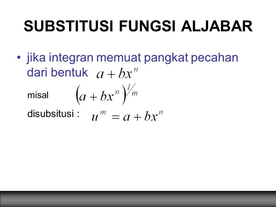 jika integran memuat pangkat pecahan dari bentuk SUBSTITUSI FUNGSI ALJABAR misal disubsitusi :