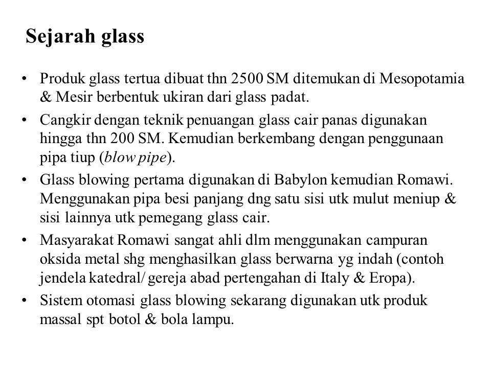Sejarah glass Produk glass tertua dibuat thn 2500 SM ditemukan di Mesopotamia & Mesir berbentuk ukiran dari glass padat. Cangkir dengan teknik penuang