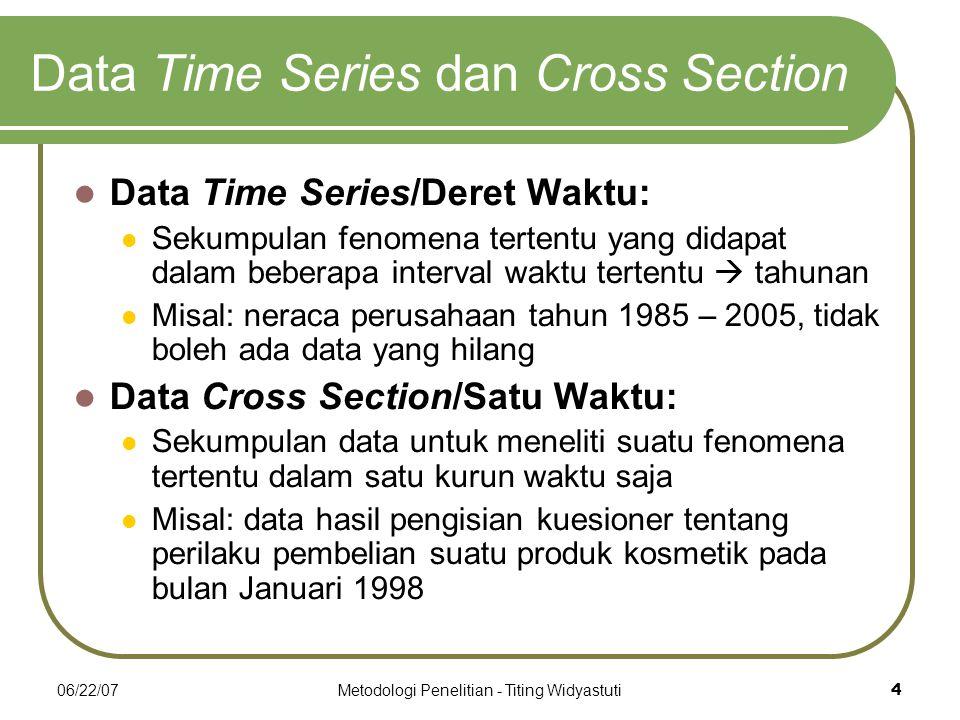 06/22/07Metodologi Penelitian - Titing Widyastuti4 Data Time Series dan Cross Section Data Time Series/Deret Waktu: Sekumpulan fenomena tertentu yang didapat dalam beberapa interval waktu tertentu  tahunan Misal: neraca perusahaan tahun 1985 – 2005, tidak boleh ada data yang hilang Data Cross Section/Satu Waktu: Sekumpulan data untuk meneliti suatu fenomena tertentu dalam satu kurun waktu saja Misal: data hasil pengisian kuesioner tentang perilaku pembelian suatu produk kosmetik pada bulan Januari 1998