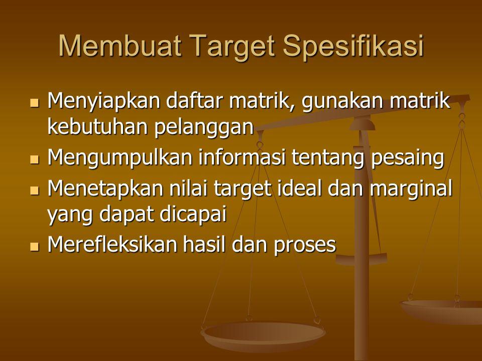 Membuat Target Spesifikasi Menyiapkan daftar matrik, gunakan matrik kebutuhan pelanggan Menyiapkan daftar matrik, gunakan matrik kebutuhan pelanggan M