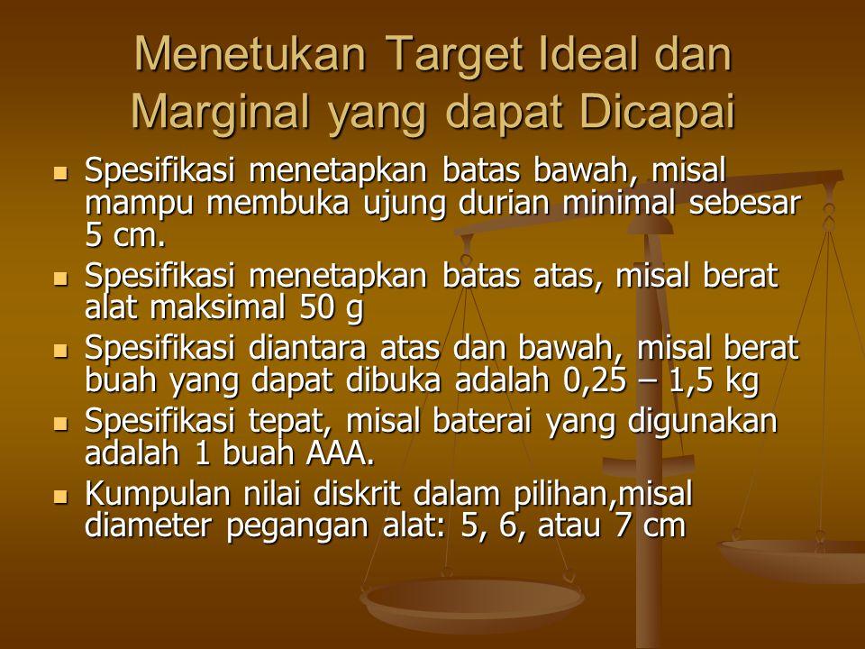 Menetukan Target Ideal dan Marginal yang dapat Dicapai Spesifikasi menetapkan batas bawah, misal mampu membuka ujung durian minimal sebesar 5 cm. Spes