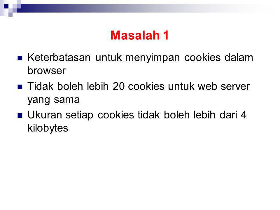 Masalah 1 Keterbatasan untuk menyimpan cookies dalam browser Tidak boleh lebih 20 cookies untuk web server yang sama Ukuran setiap cookies tidak boleh