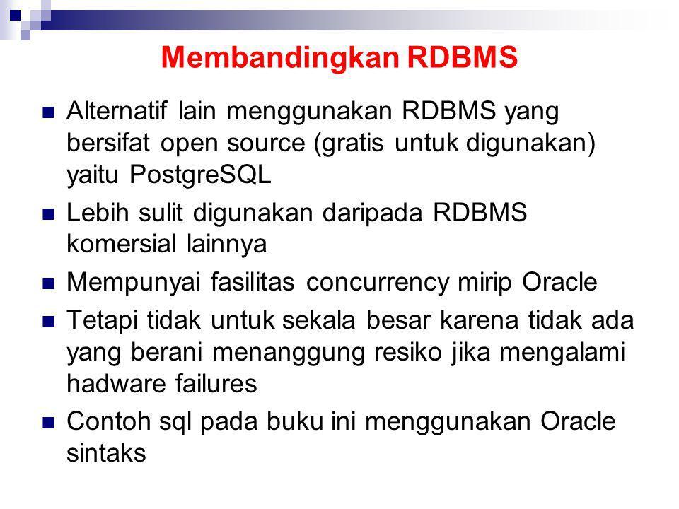 Membandingkan RDBMS Alternatif lain menggunakan RDBMS yang bersifat open source (gratis untuk digunakan) yaitu PostgreSQL Lebih sulit digunakan daripa