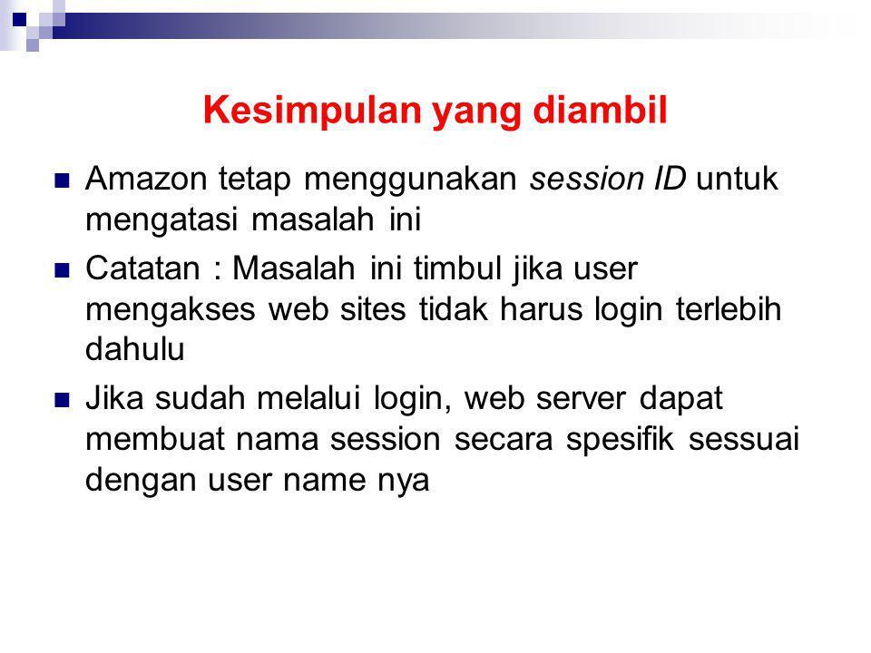Kesimpulan yang diambil Amazon tetap menggunakan session ID untuk mengatasi masalah ini Catatan : Masalah ini timbul jika user mengakses web sites tid