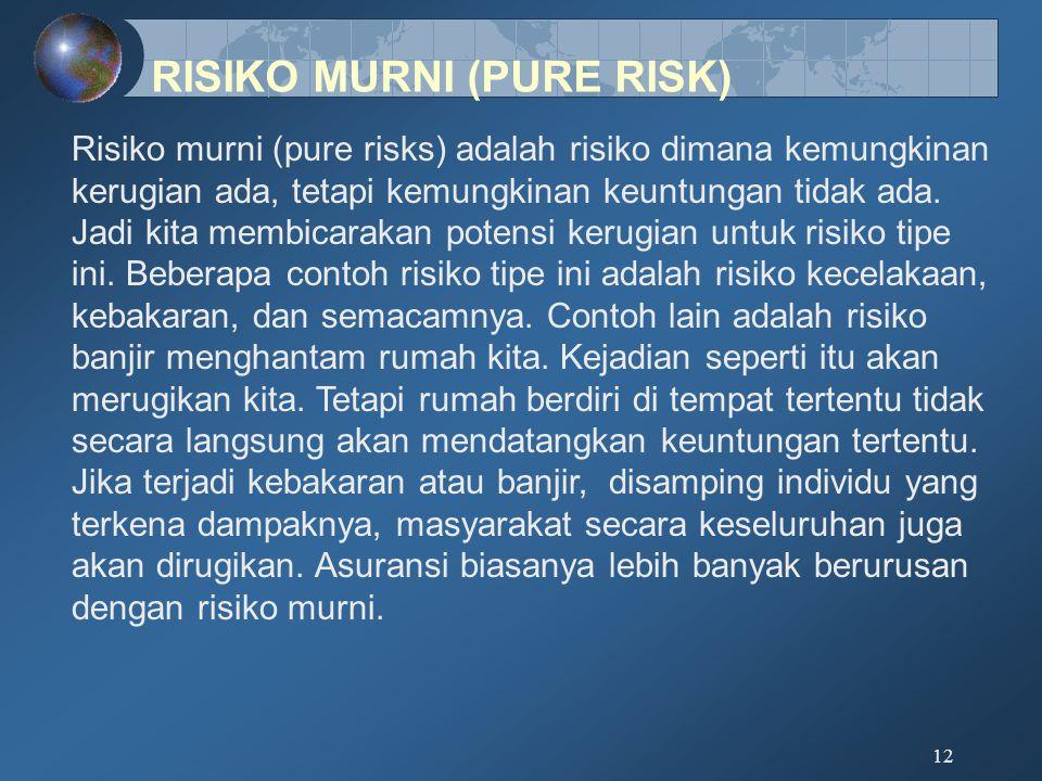 12 Risiko murni (pure risks) adalah risiko dimana kemungkinan kerugian ada, tetapi kemungkinan keuntungan tidak ada. Jadi kita membicarakan potensi ke