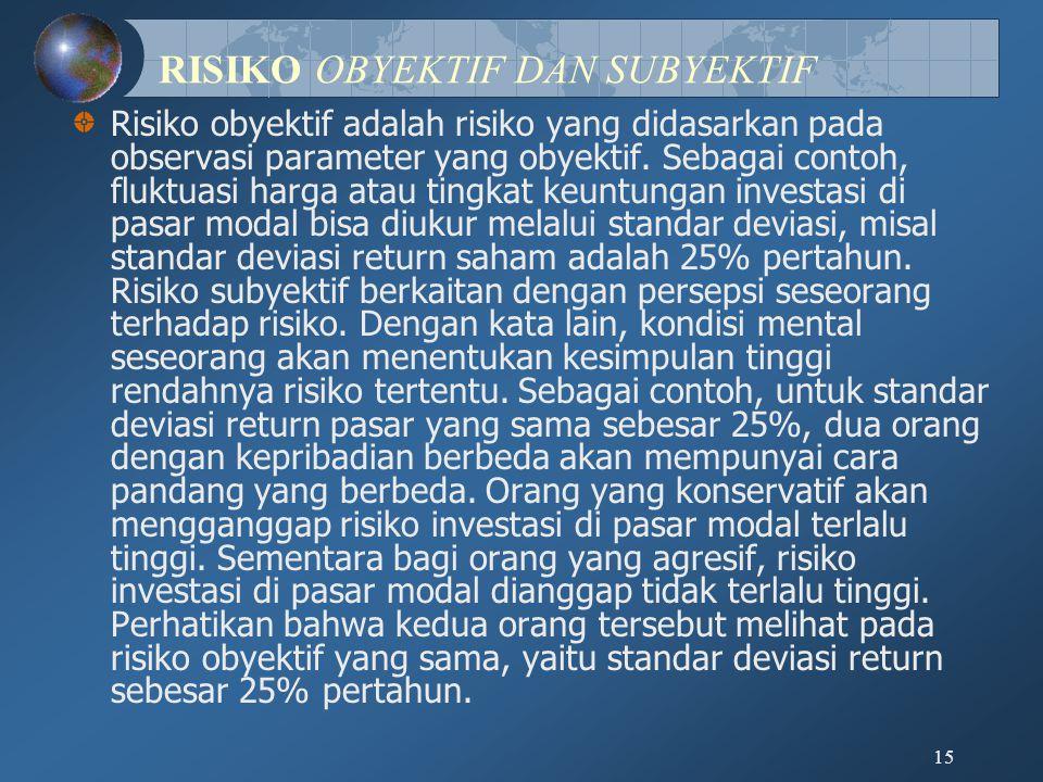 15 RISIKO OBYEKTIF DAN SUBYEKTIF Risiko obyektif adalah risiko yang didasarkan pada observasi parameter yang obyektif. Sebagai contoh, fluktuasi harga