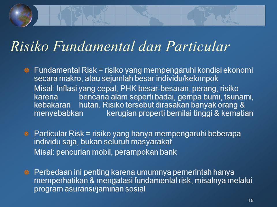 Risiko Fundamental dan Particular Fundamental Risk = risiko yang mempengaruhi kondisi ekonomi secara makro, atau sejumlah besar individu/kelompok Misa