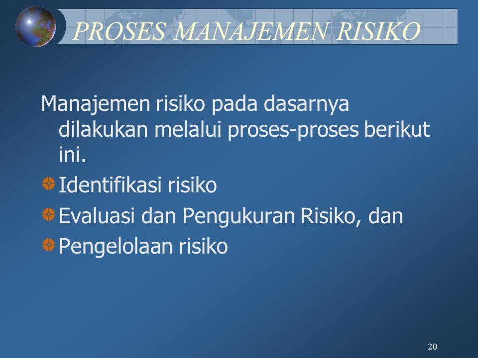 20 PROSES MANAJEMEN RISIKO Manajemen risiko pada dasarnya dilakukan melalui proses-proses berikut ini. Identifikasi risiko Evaluasi dan Pengukuran Ris
